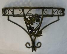 GREEN METAL WROUGHT IRON WALL SHELF WITH GRAPE AND GRAPE LEAF DESIGN