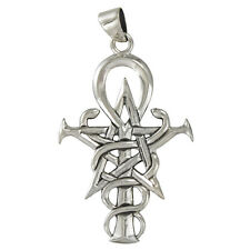 Sterling Silver Pentacle Caduceus Ankh Pendant Wizardry Symbol Wicca Jewelry