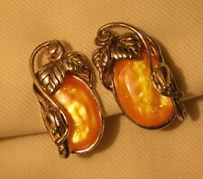 Lovely Peach Marbly Sculpted Silvertone Vines & Leave CLIP Earrings