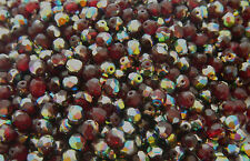 100 PCS -  6mm CZECH GLASS FIRE POLISHED ROUND FACETED BEADS - GARNET VITRAIL