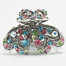 Sparkling high quality metal multi color crystal rhinestone hair clip claw jaw 2