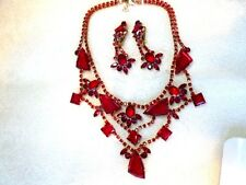 LILIEN Handmade CZECH Red Glass Stage Drag Cabaret Necklace & DROP EARRING Set