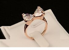 Ladies Ring 18 K Rose Gold Plated Exquisite Bow Zircon New  Stylish Shape Stone