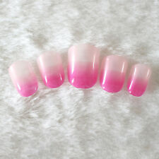 24pcs Shiny Artificial Nail Art Tips Toenails Acrylic UV Gel French False Nails
