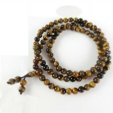 Stretch 108 Natural 6mm Tiger Eye Yoga Meditation Prayer Beads Mala Necklace 27""