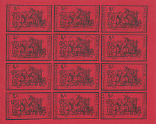 1971 STRIKE MAIL BANNOCKBURN 5/- RED IMP COMMEMORATIVES FULL SHEET OF 12 MNH