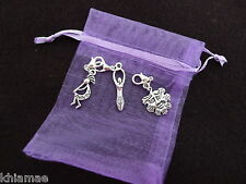3 x Clip On Wiccan Bracelet Charms goddess Kokopelli greenman pagan silver set