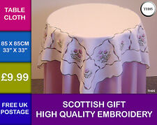 Scottish Lilac Thistle Embroidered Cutwork Table Cloth Kitchen Dining Gift TH85