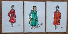 3 ORIGINAL MODEZEICHNUNGEN Damen Mantel 70er Modelle Modeskizze Design