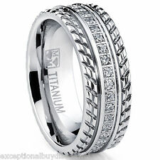 MENS OR WOMENS eternity T TITANIUM LCS. DIAMOND WEDDING BAND RING SZ 10 + GIFT