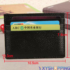 Black Leather Slim Thin Credit Card Holder Wallets Cash Mini Purses ID Case Box
