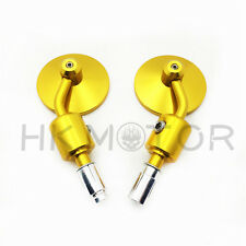 """Gold Motorcycle CNC Aluminum Rearview 7/8""""Handle Bar End Side Mirror 3"""" Round"""