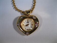 "NOLAN MILLER ""HEART SHAPED CLOCK"" NECKLACE-SIGNED-GOLD FINISH W/RHINESTONES!"
