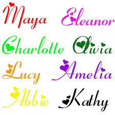 Personalized Girls Any Name with Hearts Wall Sticker Decal Bedroom Mural N3