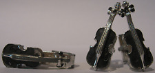VINTAGE SIGNED OXFORD SILVER TONE ENAMEL CELLO CUFFLINKS AND TIE CLIP SET