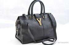 Auth Yves Saint Laurent Y Cabas Mini Leather 2way Hand Shoulder Bag Black 24410