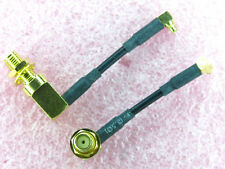 "SMA RA Female Jack Panel Mount to MMCX RA Plug Cable 2"" Long 50 Ohm, 2pcs"