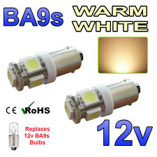 2 x Warm White 12v LED Side Light BA9s 233 Bayonet Car Scooter Bright Bulbs