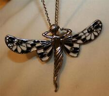 Lovely Black & White Enameled Dragonfly Princess Angel Fairy Silvertn Necklace