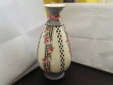 ?PRE 1891 NARROW NECKED VASE BLACK AND WHITE BANDS SOME WITH PINK FLOWERS