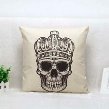Vintage Skull Pattern Pillow Case Cover Cushion Cotton Linen Sofa Bed Home LF
