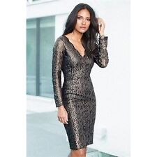 "NEW ""NEXT""( TALL) SIZE 10 BLACK & GOLD LACE,OCCASION, PARTY DRESS"