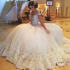 Crystal Lace Wedding Dresses Cap Sleeve Beading Appliques Luxury Bridal Gowns