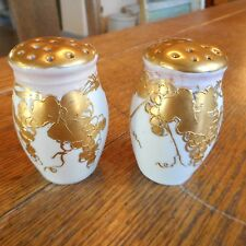 Vintage M Z AUSTRIA  Salt Pepper Shakers-GRAPES VINE-Gold Gilt Hand Painted
