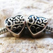 2PCs Sister Heart Large Hole European Charm Beads For European Charm Bracelets