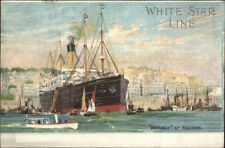 White Star Line Steamship Republic at Algiers c1907 Postcard