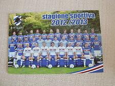 CARTOLINA CALCIO UFFICIALE FORMAZIONE U.C. SAMPDORIA STAGIONE SPORTIVA 2012/2013