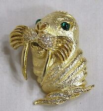 Vintage Jewelry AMAZING Figural Walrus Brooch Goldtone RS Whiskers Grn Eyes WOW!