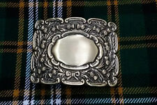 Men's scottish kilt boucle de ceinture défilement chardon finition antique/piper boucles