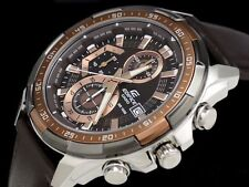 IMPORTED Casio Edifice EFR-539L Chronograph Mens Watch Brown Leather Belt