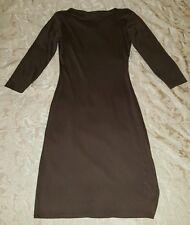 Diane Von Furstenberg Brown Silk Shift Shirt Dress 3/4 Sleeve EUC Size 10 Medium