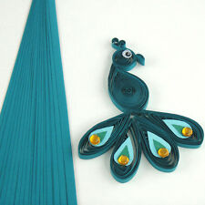 100 QUILLING strisce carta autoadesivo in blu pavone-larghezza 10mm