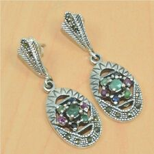 925 SOLID STERLING SILVER NATURAL EMERALD,RUBY MARCASITE STUD EARRING S02080