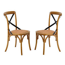HOMCOM Dining Chairs Set of 2 Kitchen Vintage X Back Solid Wood Metal Brown New