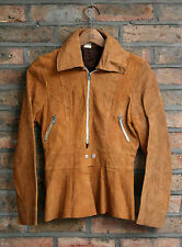 VTG 70s BRITISH SUEDE LEATHER ZIP FRONT SKIRT BOTTOM JACKET CLIX ZIP SMALL 6/8