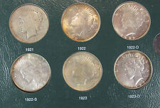 1921-1935 Complete Peace Dollar Set Silver Dollars in Green Intercept Album