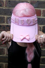MEOU KITTY VISOR CAP HAT PINK  BLING CARNIVAL GHETTO NOTTINGHILL