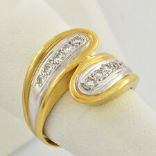 Estate 18K 2-Tone Solid Gold Bypass / Cross over Design Diamond Band Ring Sz. 7