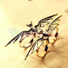Fashion Punk Vintage Adjustable Vampire Animal Bat Wing double Fingers Ring