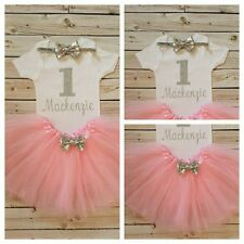 1st Birthday Silver Glitter and Pink Girls Tutu Dress Shirt Headband Outfit Set