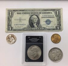 Five Collectible United States Dollars, with Silver Certificate, Peace Dollar