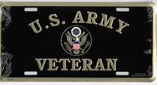 USA ARMY VETERAN w/Emblem Gold on Black Metal License Plate Embossed Car Tag