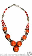 Antique Jewelry 925 Tibetan Silver Plated Coral Necklace CHAUUK1145