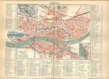 Carta geografica antica BREMEN BREMA Pianta città Germania 1890 Old antique map