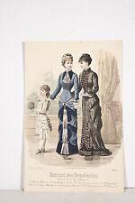 Gravure Mode XIX° Journal des Demoiselles Deux Femmes Fillette au Bouquet 1880