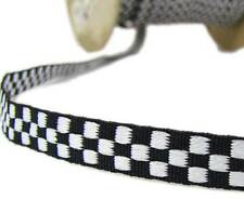 "5 Yds Black White Checkered Woven Jacquard Ribbon 3/8""W"